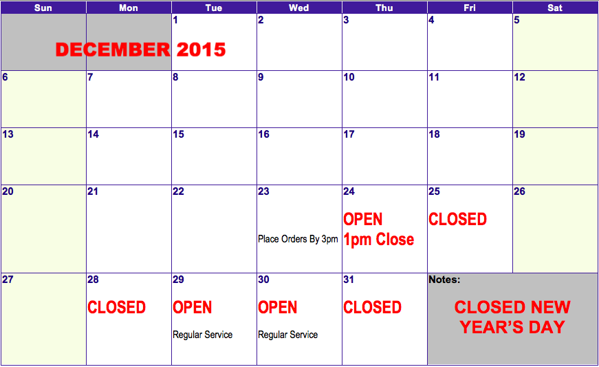 holiday hours 2015